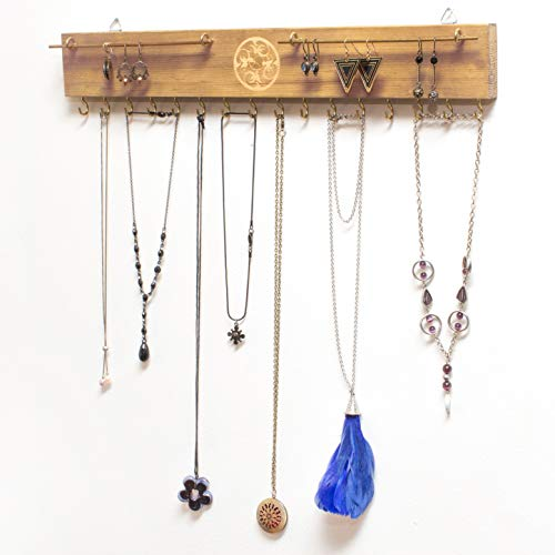 Jewelry Display Necklace Holder Wall Mount 17 Rustic Jewelry Organizer Wall Mounted 16 Hooks Wood Jewelry Rack Necklace Hanger Wall Mount Pine Wood Sheaka Com