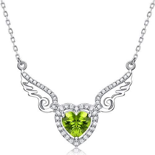 HXZZ Fine Jewelry Women Gifts 925 Sterling Silver Natural Gemstone Peridot Love Heart Angel Wings Pendant Necklace